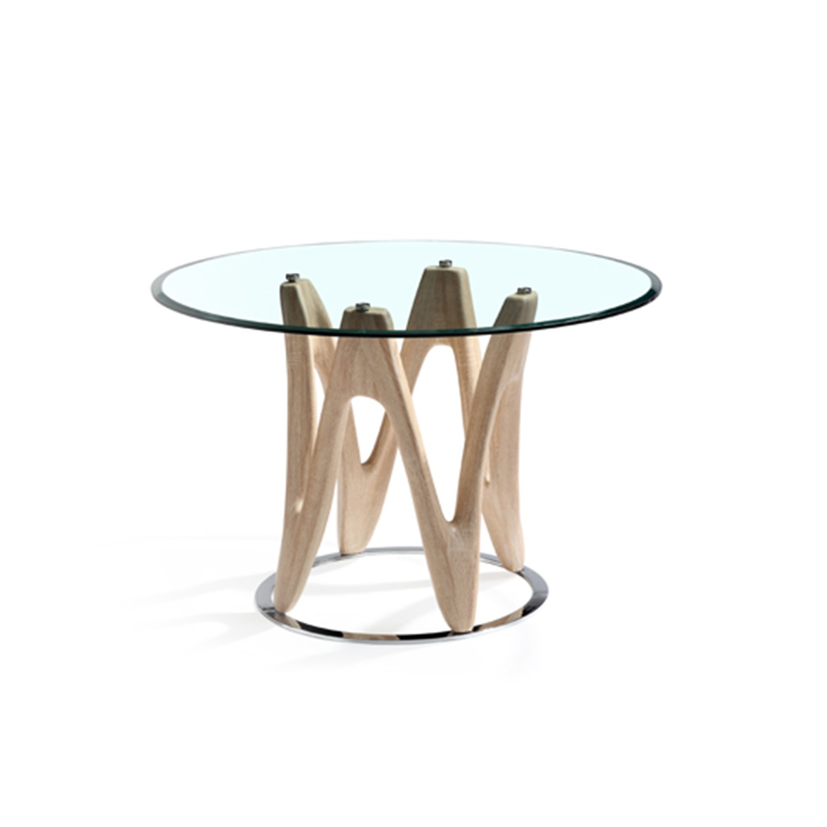 Dune Round Glass and Oak Dining Table 4 Seater