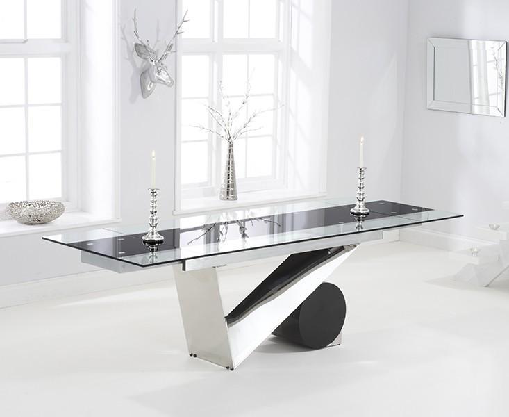 Garda Glass & Stainless Steel Extending Dining Table 2
