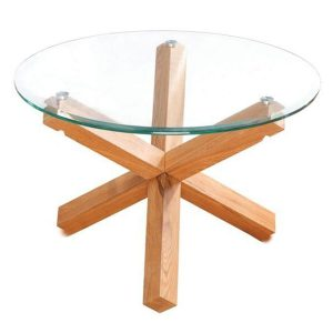 Grange Round Glass & Solid Oak Coffee Table