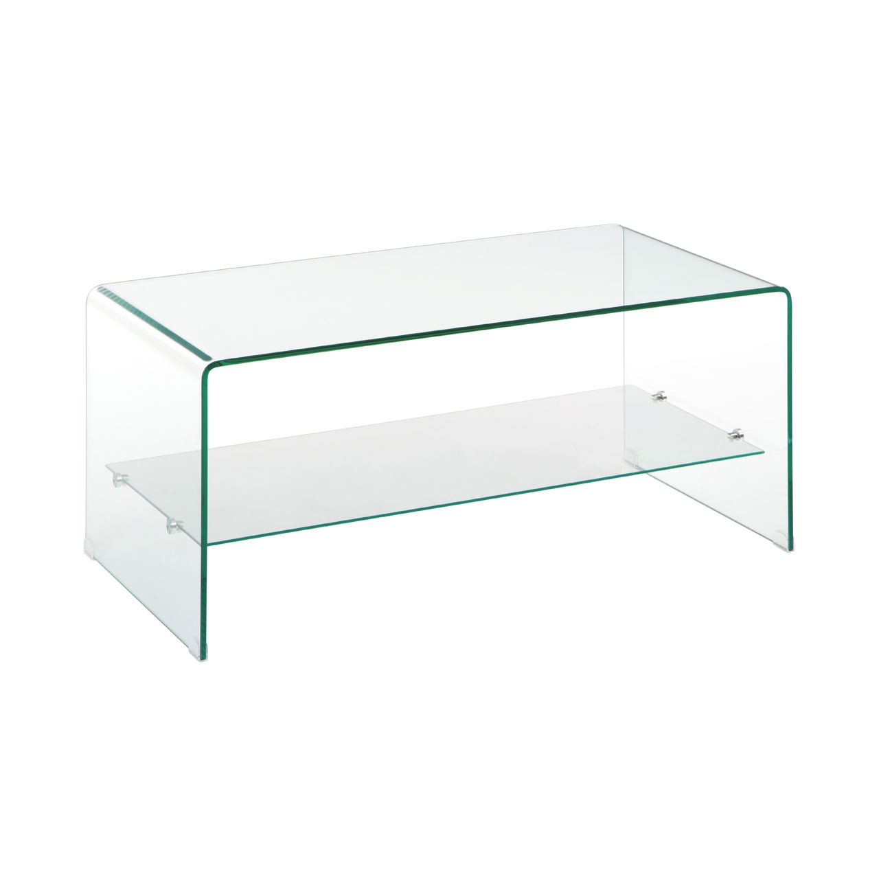Picture of: Hadera Clear Bent Glass Coffee Table With Glass Shelf Fads