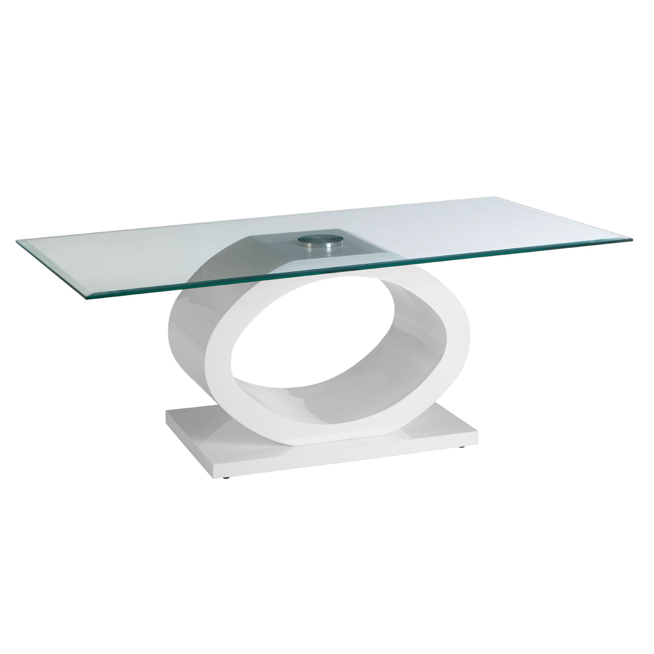 Halo Coffee Table White High Gloss and Tempered Glass