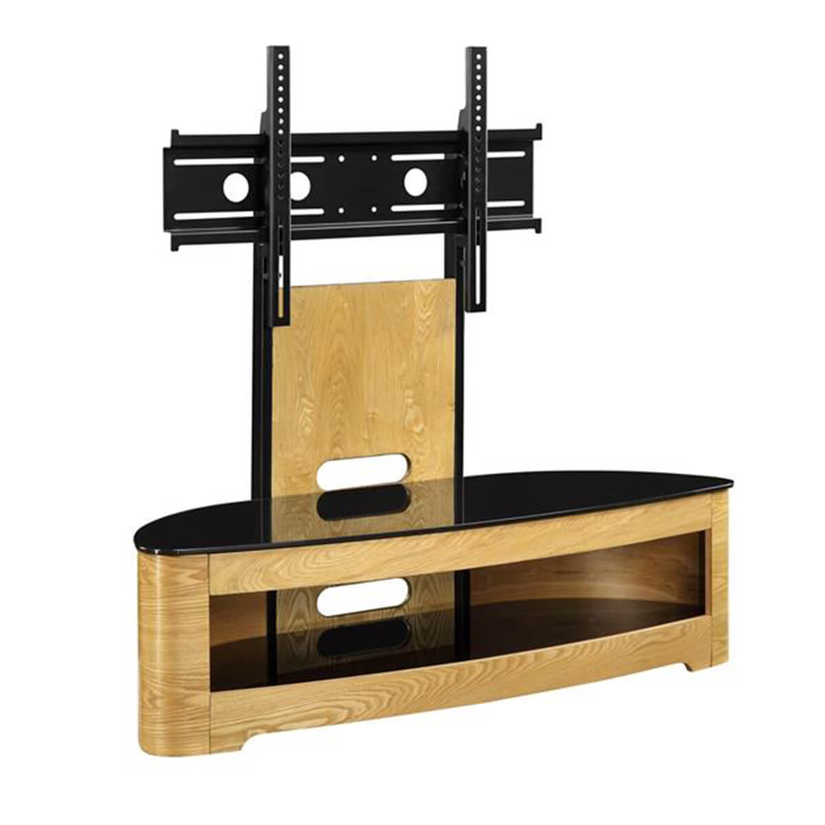 Jual Curve TV Stand 120cm Oak & Black Glass