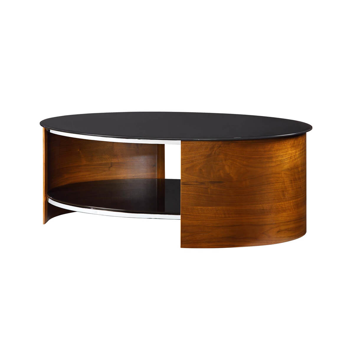 Walnut Oval Coffee Table Uk: Jual Curve Walnut & Black Glass Coffee Table