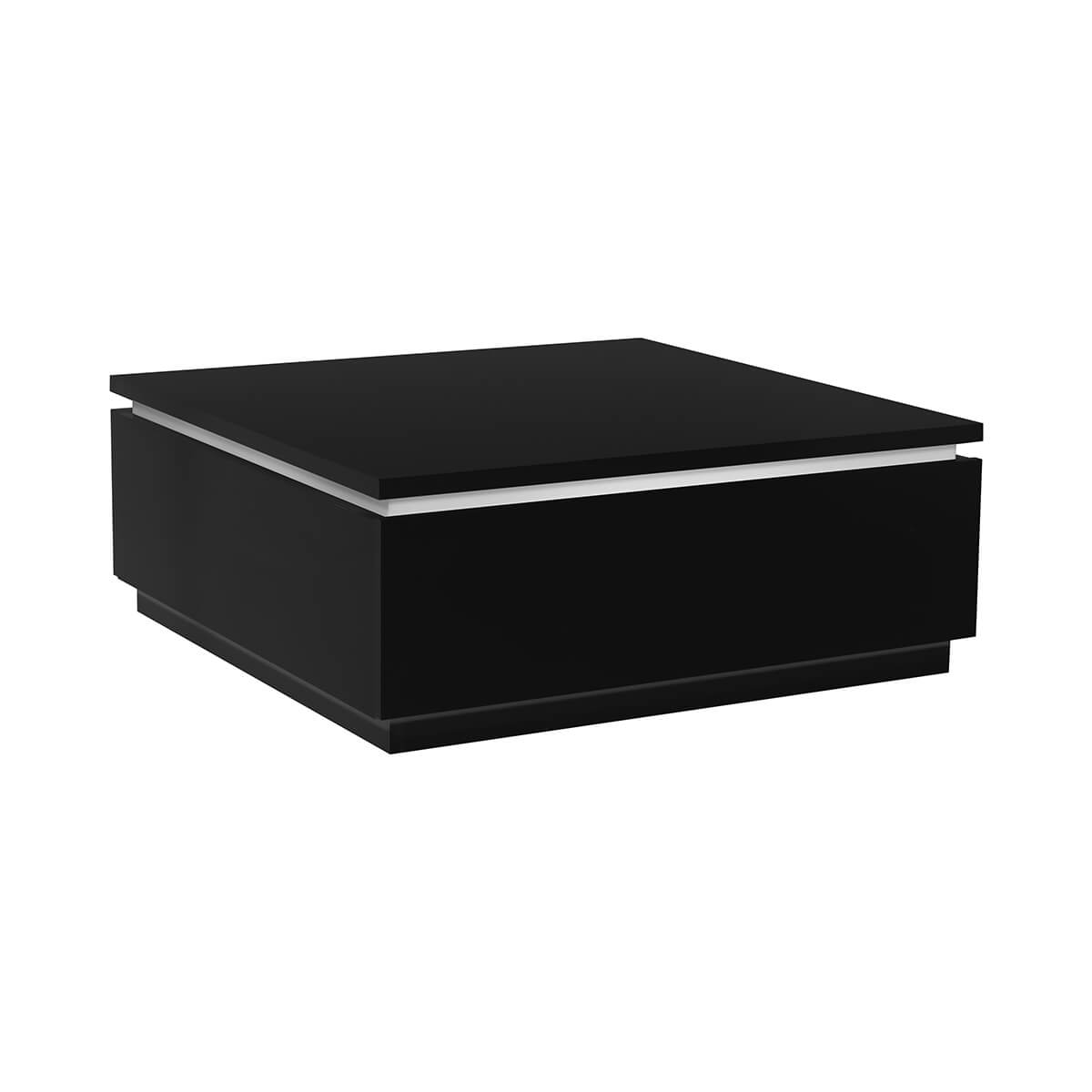 Black Coffee Table With Storage Uk: Logan High Gloss Black Coffee Table With Storage & Lights