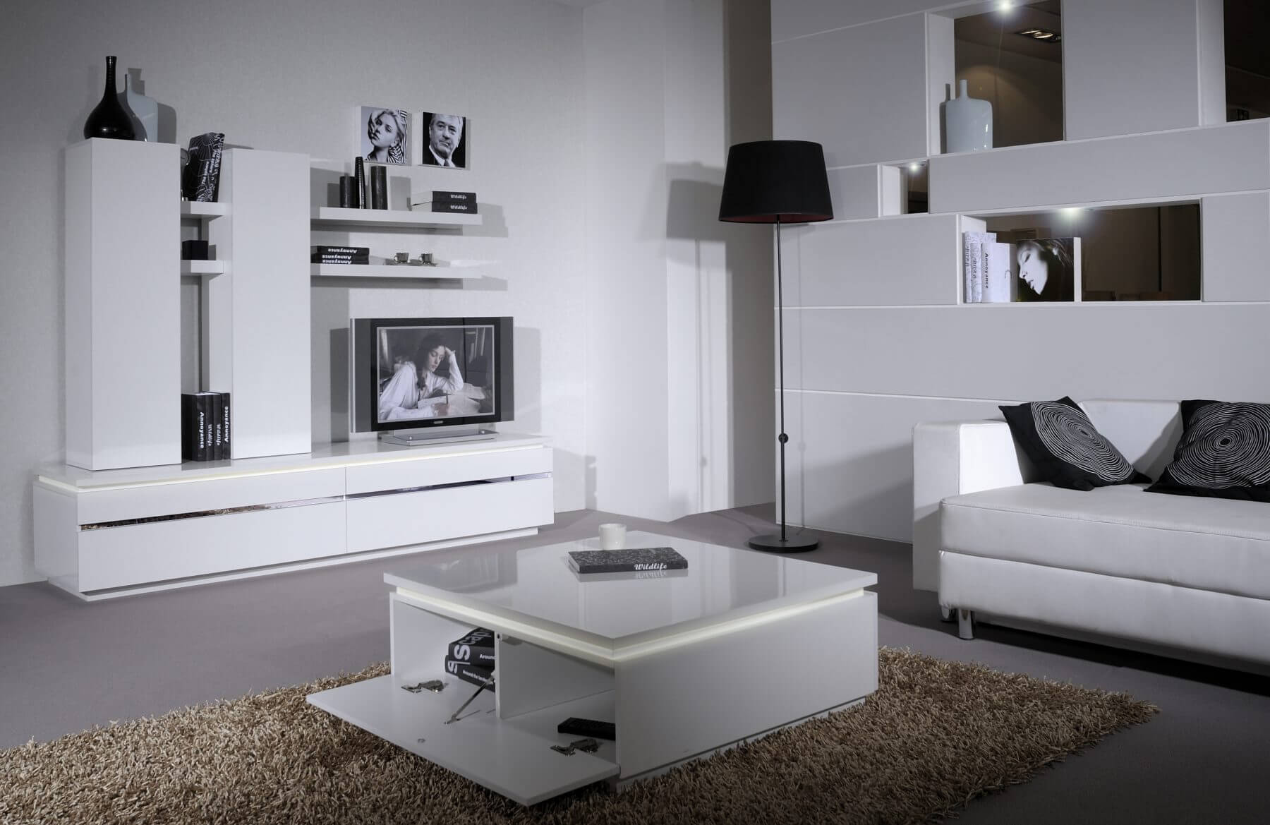 Logan White High Gloss Coffee Table with Storage & Lights