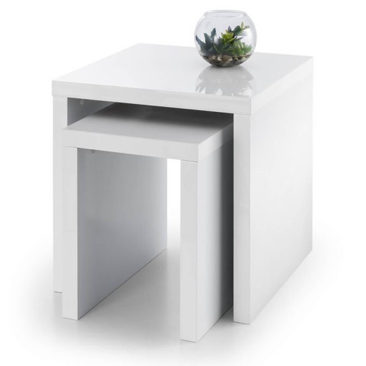 London Nest of 2 Tables White/Black High Gloss (Table Colour: White)