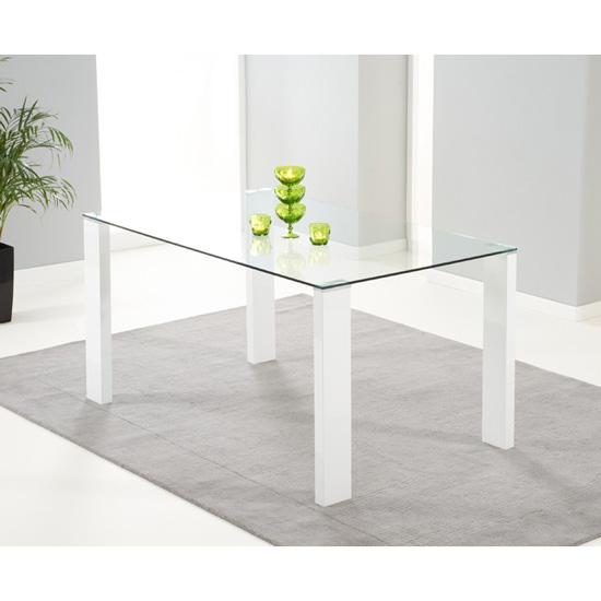 Duke Rectangular Glass & White Gloss Dining Table 6 Seater