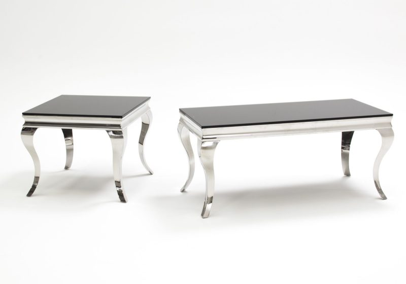 Louis Stainless Steel & Black Glass Coffee Table 7