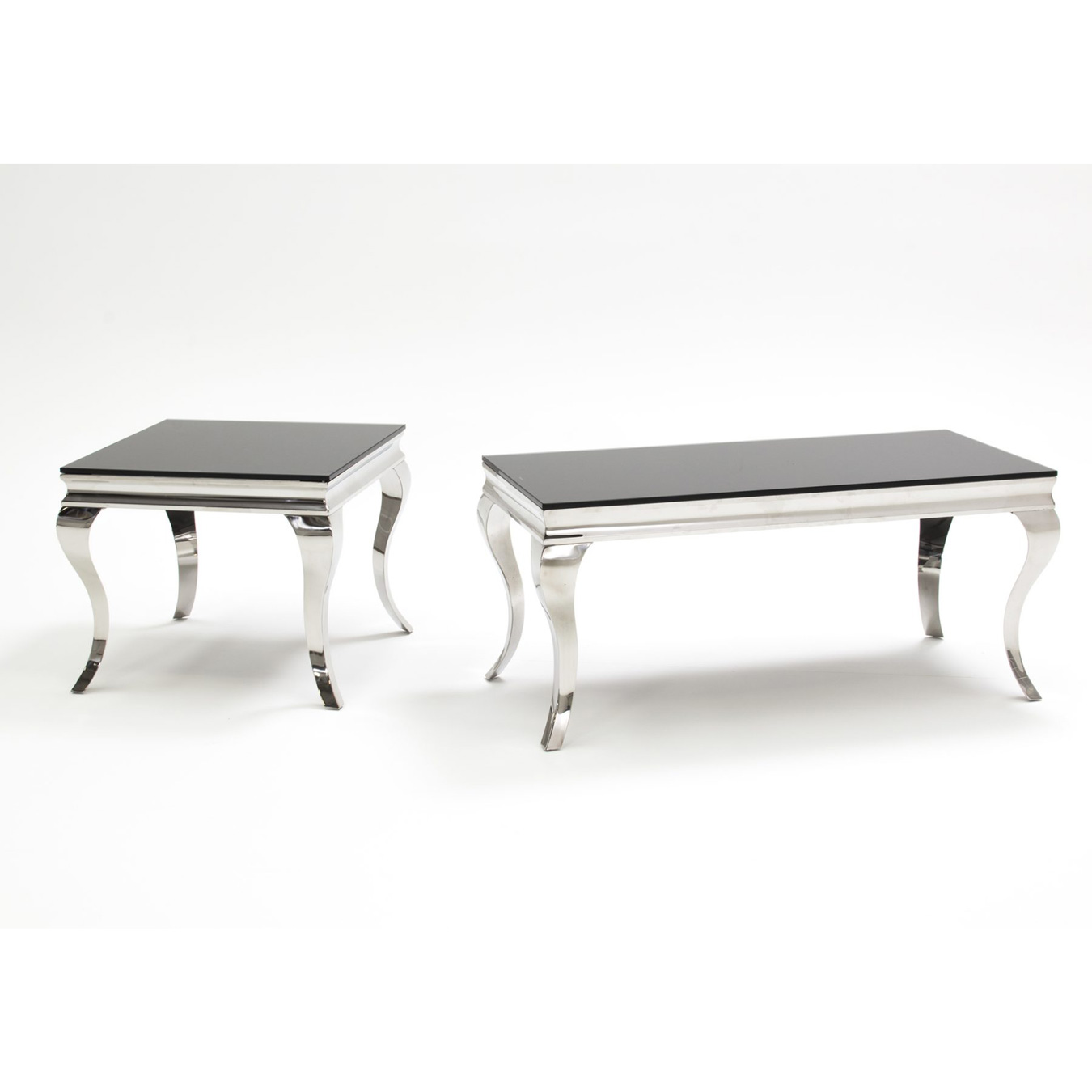 Glass Coffee Table With Stainless Steel Legs: Louis Rectangular Black Glass & Stainless Steel Coffee