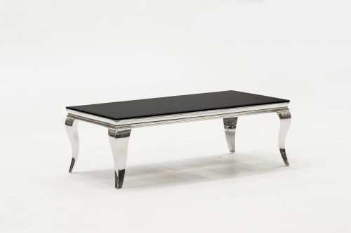 Louis Stainless Steel & Black Glass Coffee Table 1