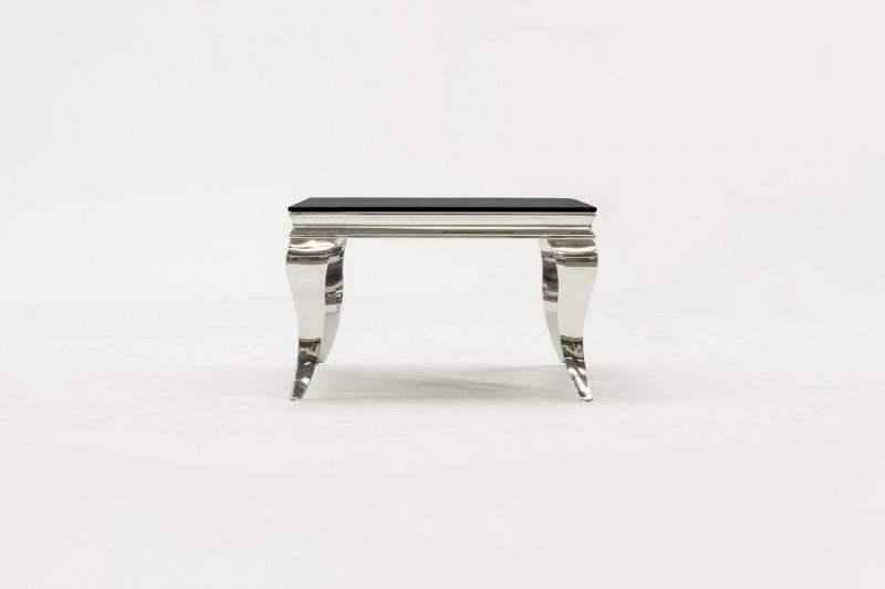 Louis Stainless Steel & Black Glass Coffee Table 4