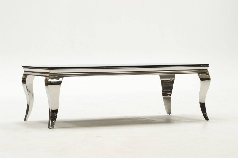 Louis Stainless Steel & Black Glass Coffee Table 5