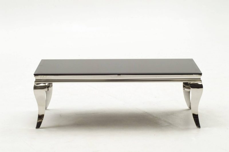 Louis Stainless Steel & Black Glass Coffee Table 6