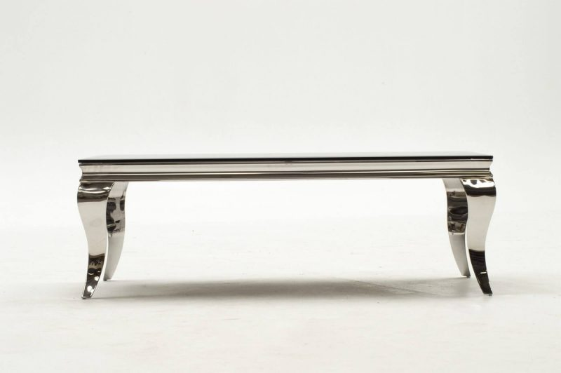 Louis Stainless Steel & Black Glass Coffee Table 2