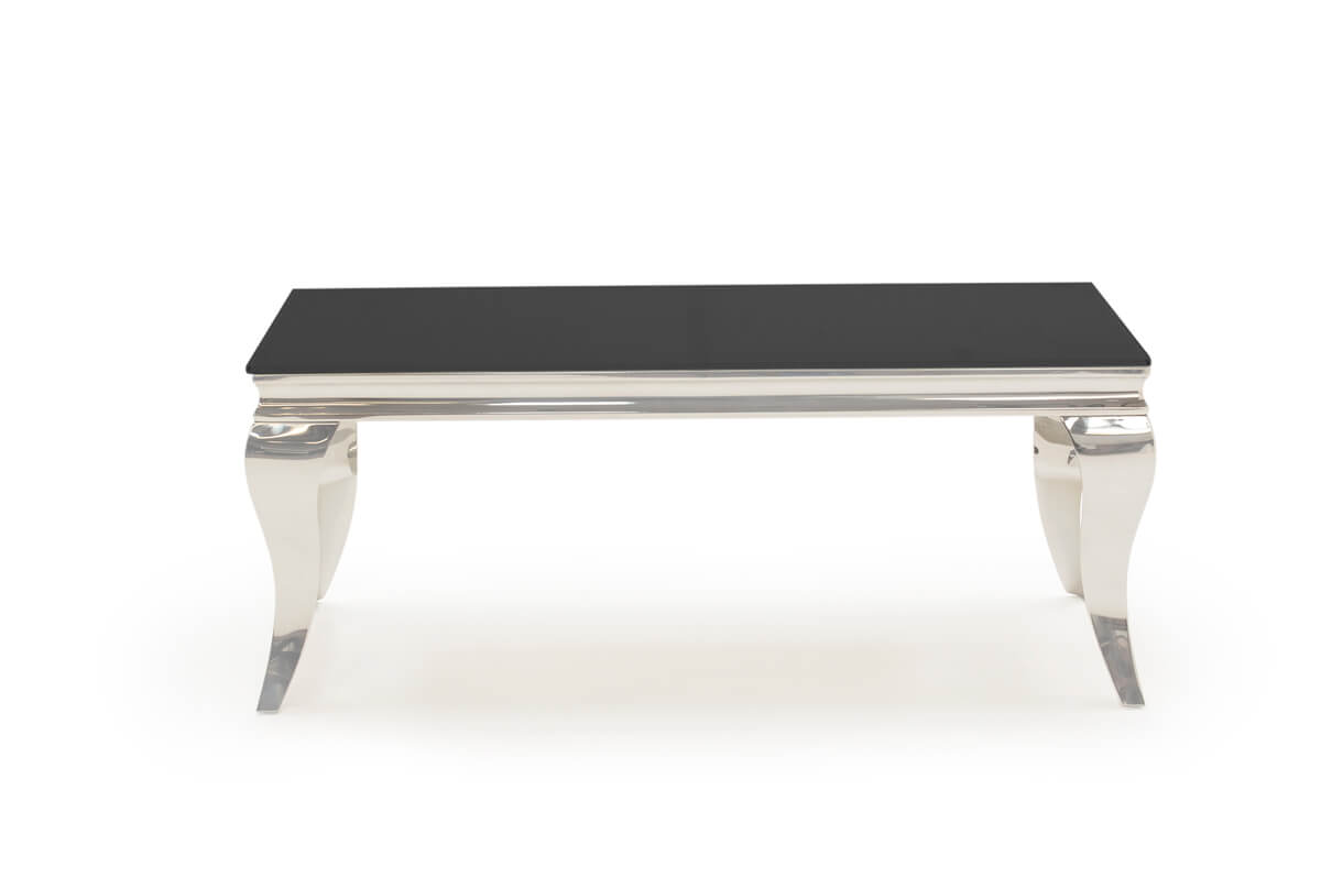 Louis Rectangular Coffee Table Black Glass & Stainless Steel Small