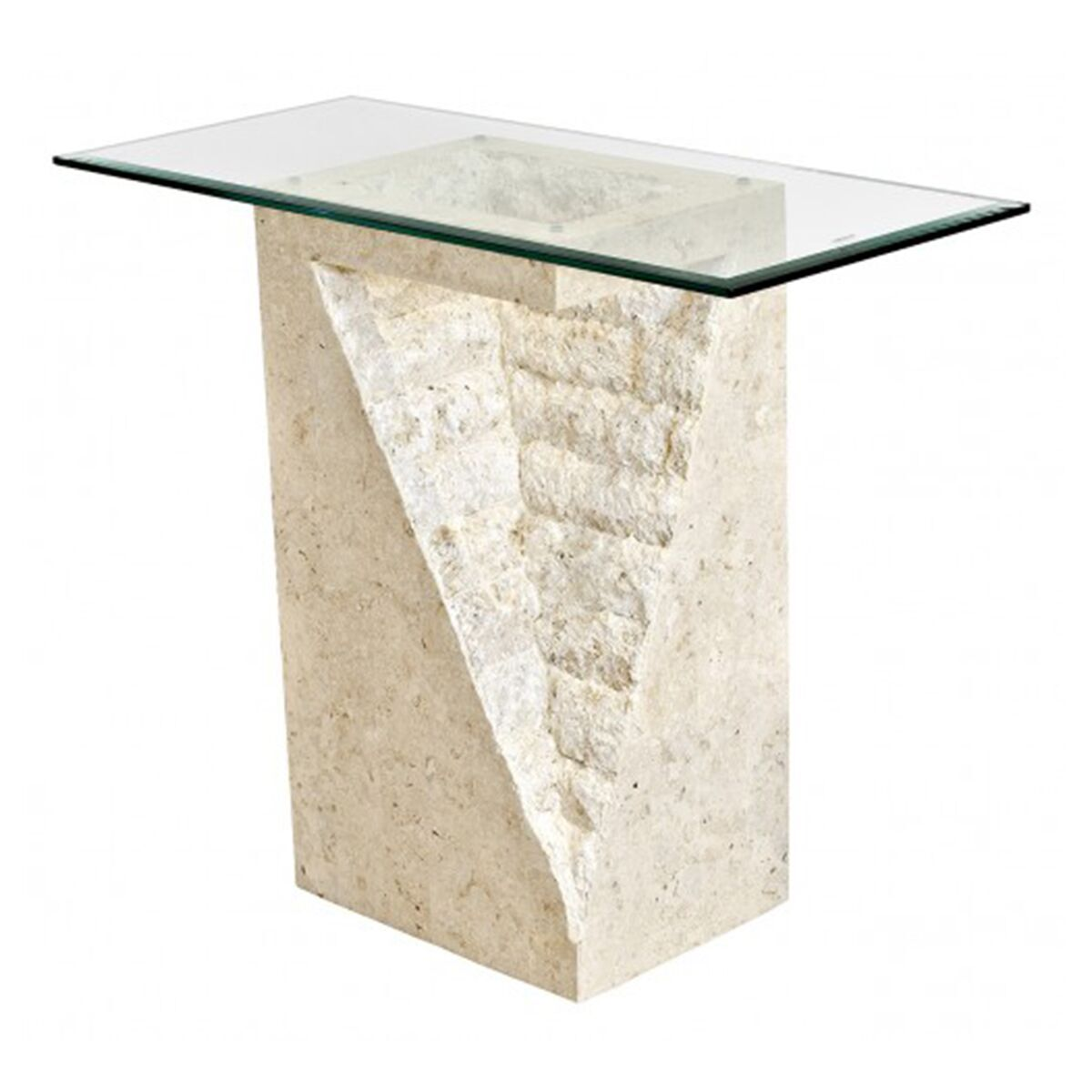 Mactan Pedestal Table In Stone With Bevelled Glass Glass Tables Fads