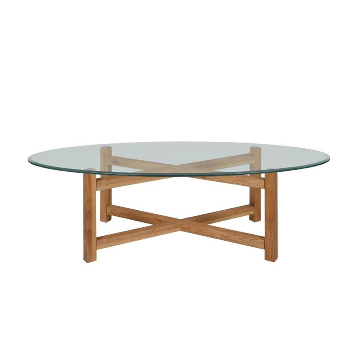 Melia Oval Glass Coffee Table Clear Glass Oak Fads [ 1200 x 1200 Pixel ]