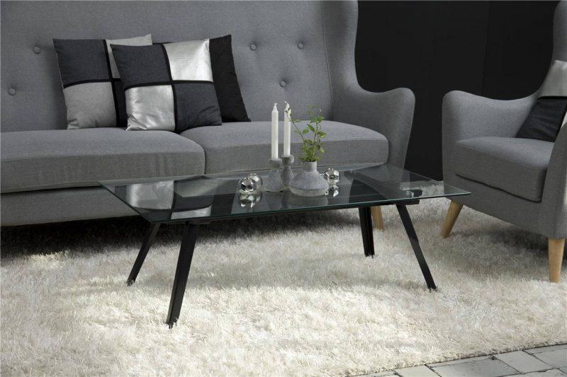 Monty Clear Glass Coffee Table & Black Metal Legs 1