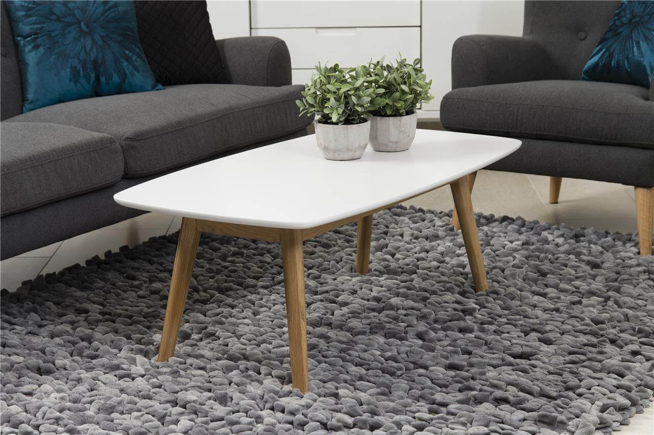 Nagano White & Solid Oak Coffee Table 1