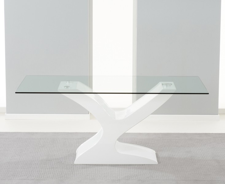 Alice Clear Glass & White Gloss Dining table 2