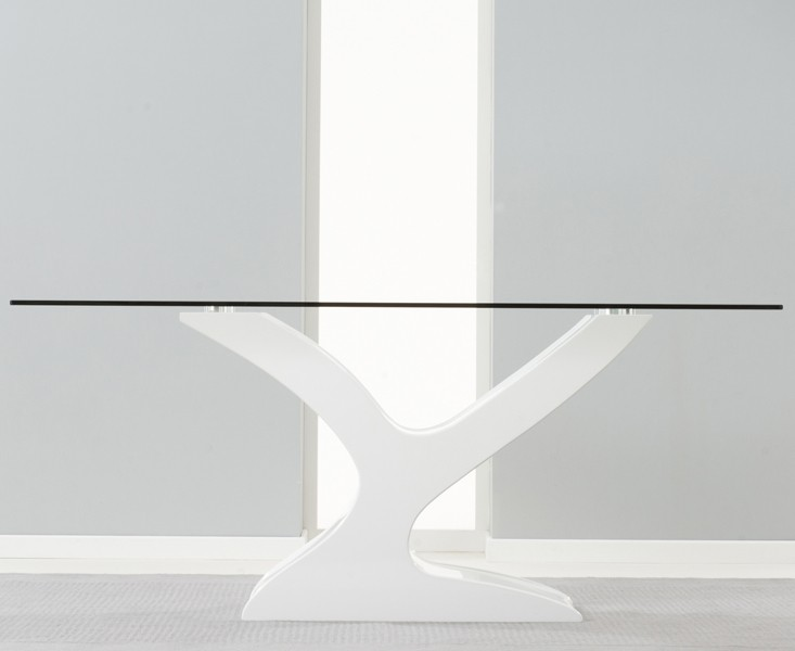 Alice Clear Glass & White Gloss Dining table 3