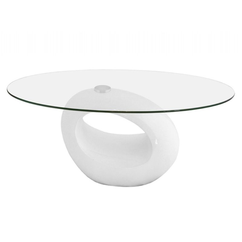 Neblus White & Clear Glass Coffee Table