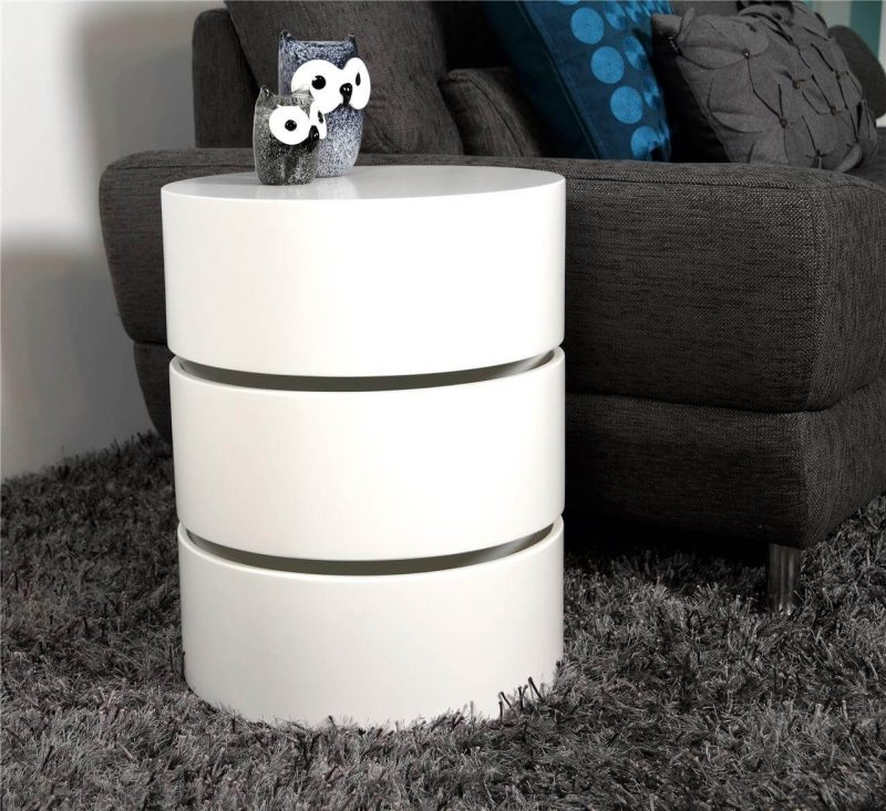 Ruby White Rotating Storage Coffee Table 2