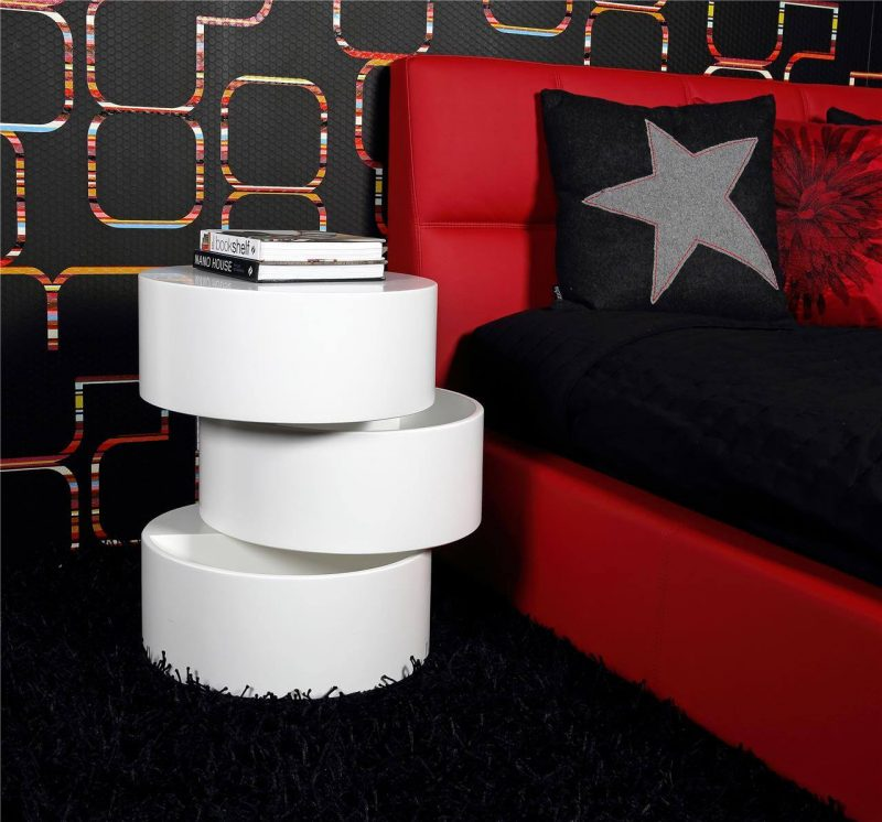 Ruby White Rotating Storage Coffee Table 6