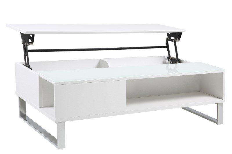 Simme High Gloss White Storage Coffee Table 2