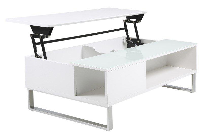 Simme High Gloss White Storage Coffee Table 3