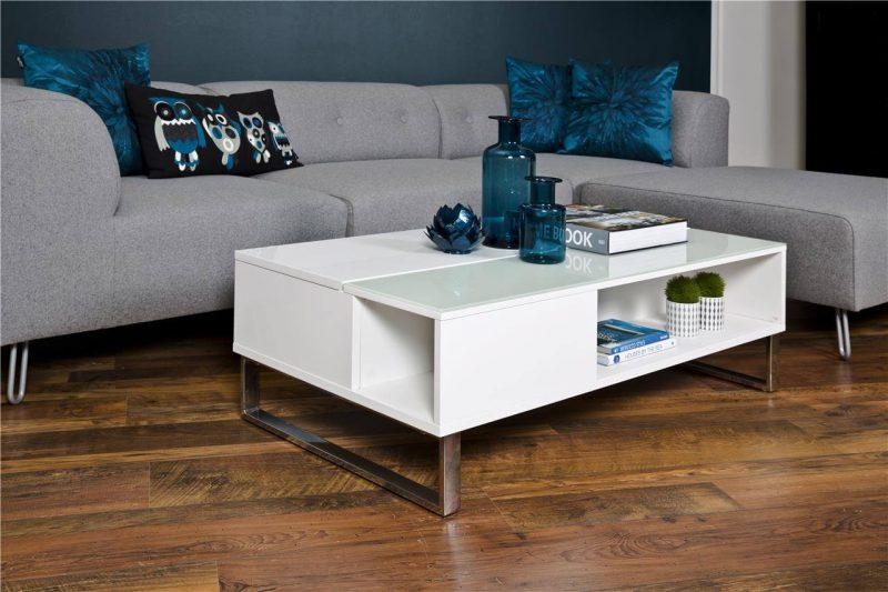 Simme High Gloss White Storage Coffee Table 4
