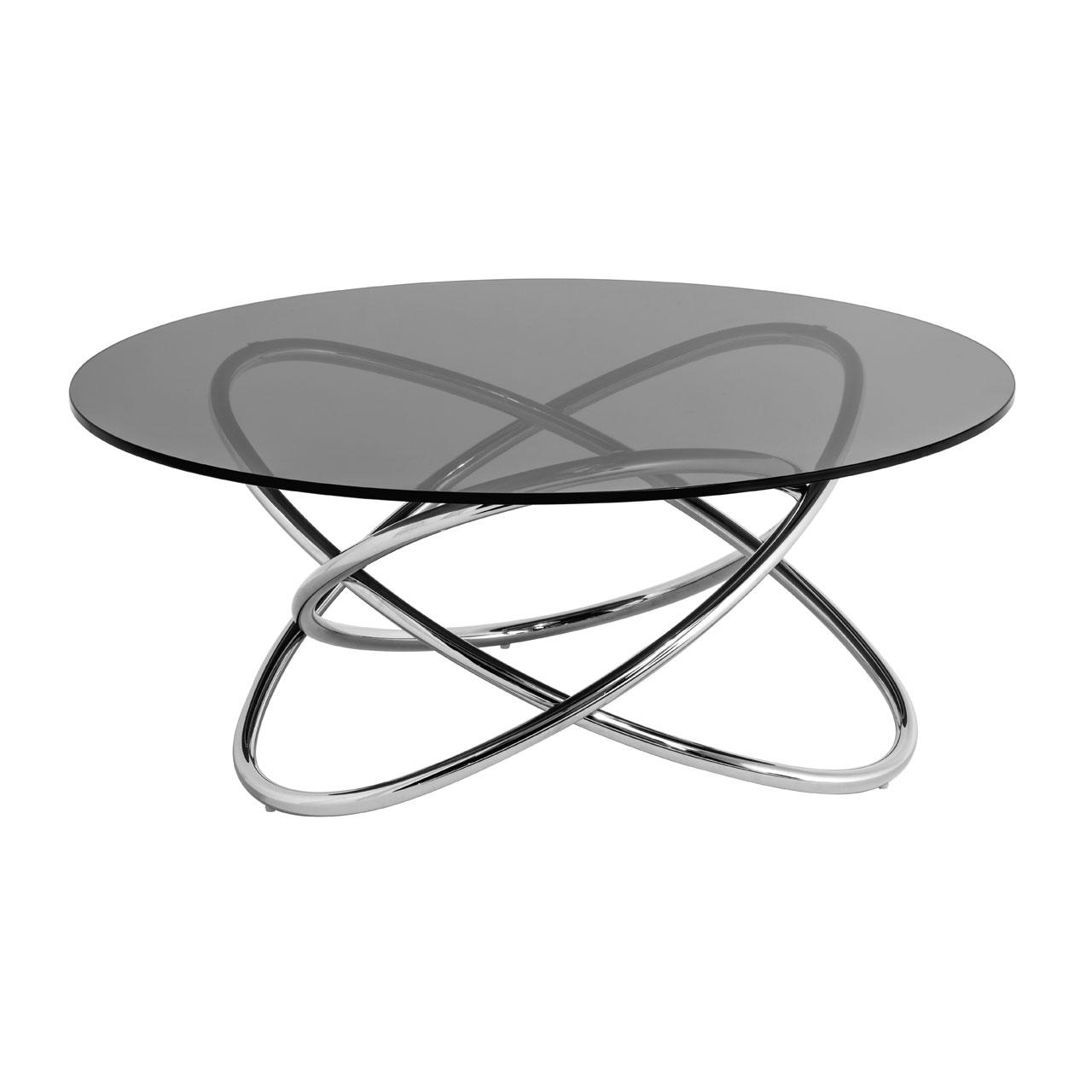 Orb Smoke Glass Coffee Table Dark Tempered Glass Fads