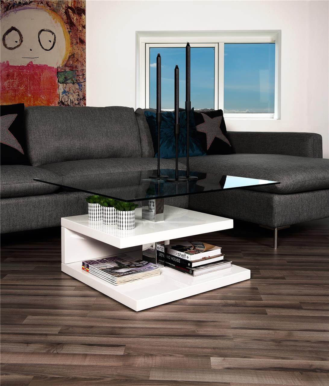 Paris White High Gloss & Glass Coffee Table 1