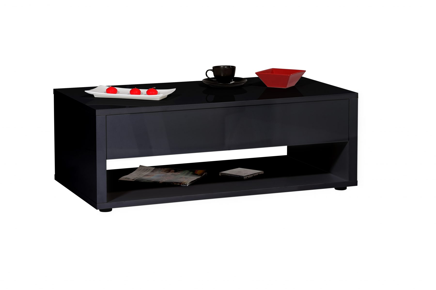 Urbana Black High Gloss Coffee Table 1 Drawer Free Delivery