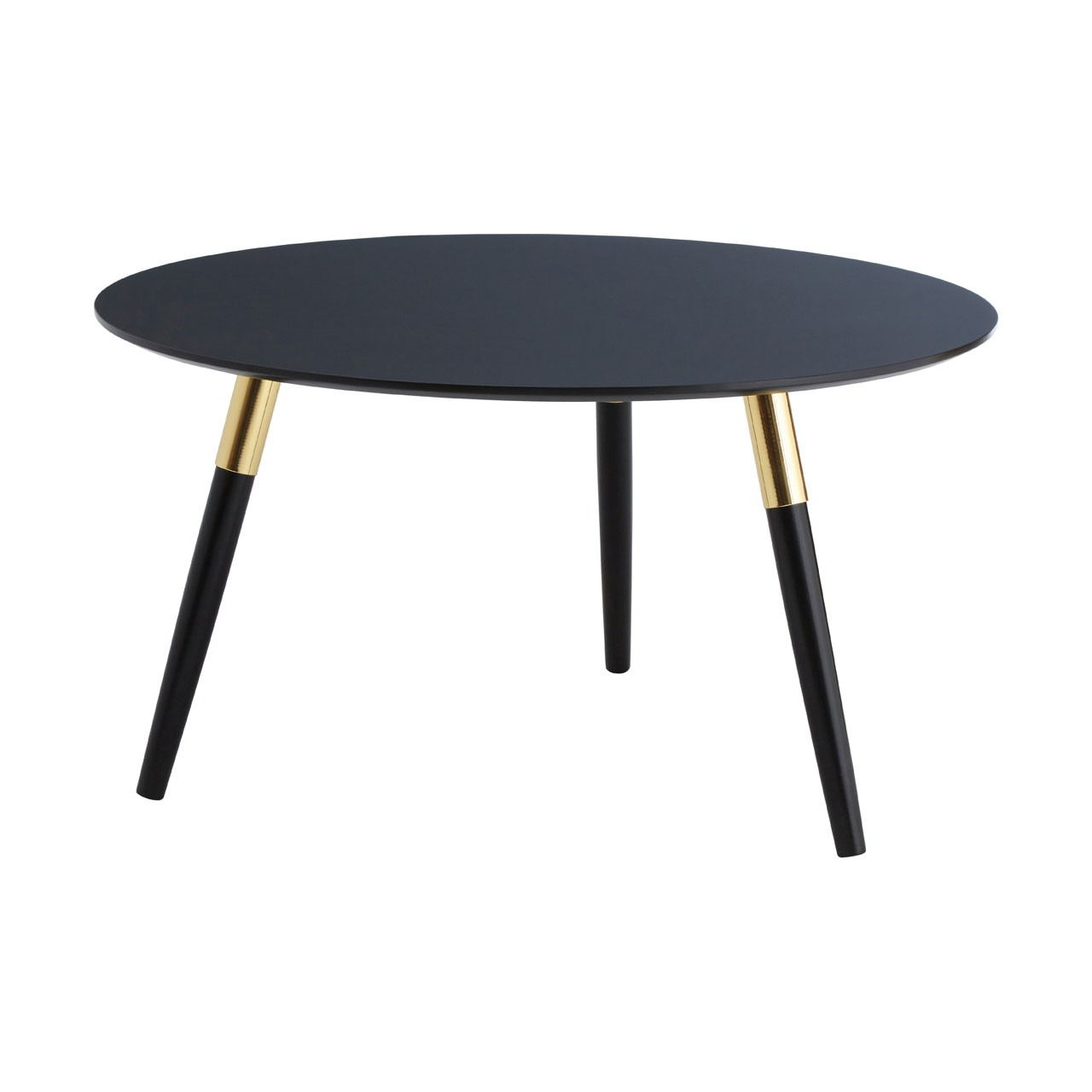 Black Oak Round Coffee Table: Vinyl Round Black Oak Coffee Table