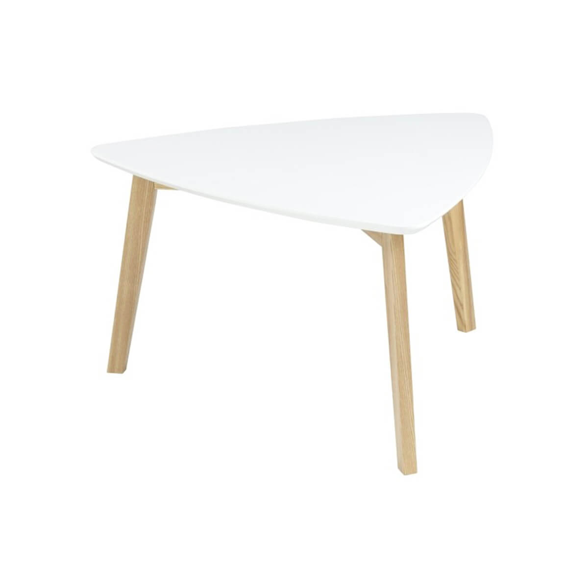 Triangle Coffee Table Wood.Vitis White Triangular Coffee Table Solid Ash Legs