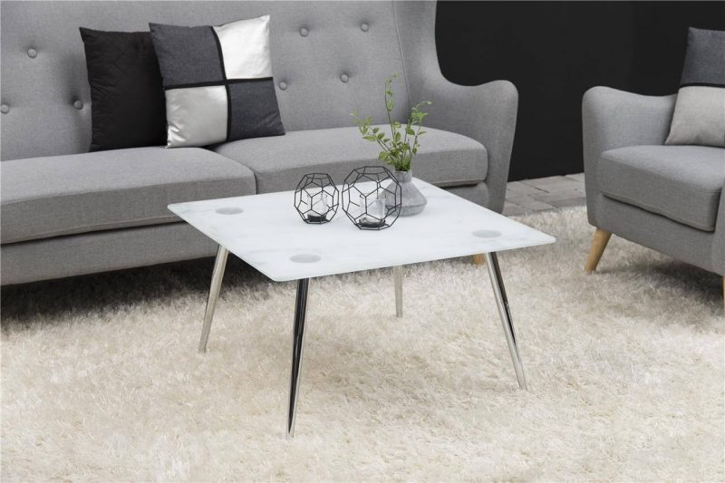 Wilma Square Glass Marble Effect Coffee Table 1