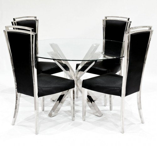 Criss Cross Round Glass Dining Table 4