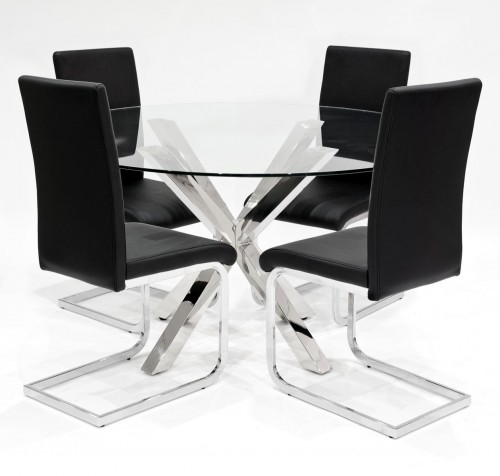 Criss Cross Round Glass Dining Table 3