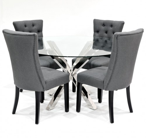 Criss Cross Round Glass Dining Table 2