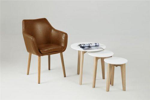 Abin Nest of 3 Tables White & Oak 2