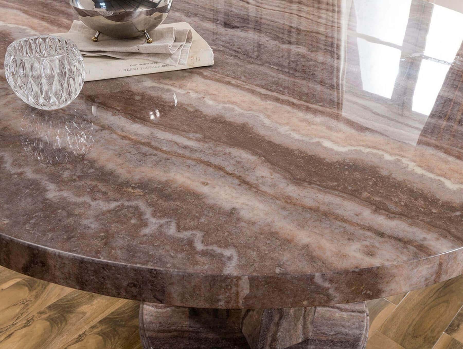 Amalfi Round Marble Dining Table Grey 3