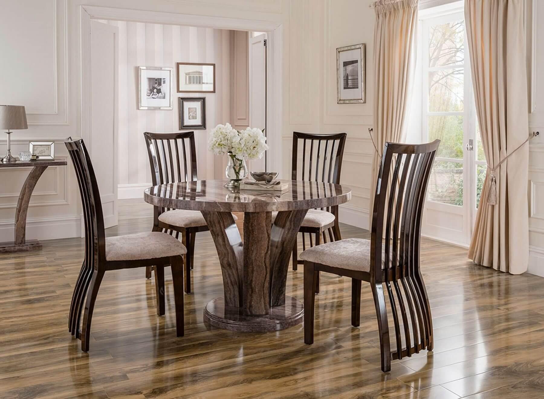 Amalfi Round Marble Dining Table Grey 5