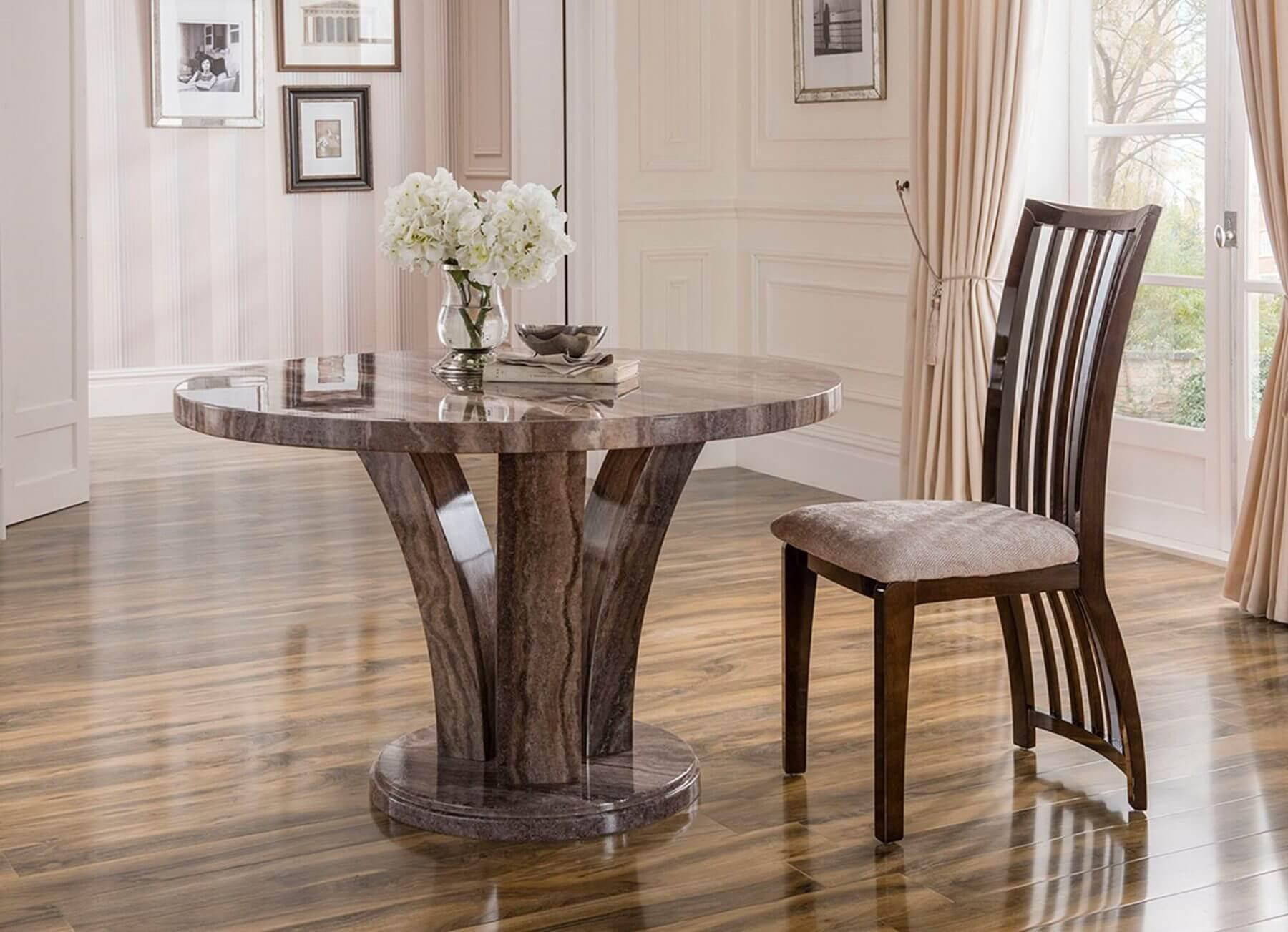 Amalfi Round Marble Dining Table Grey 4