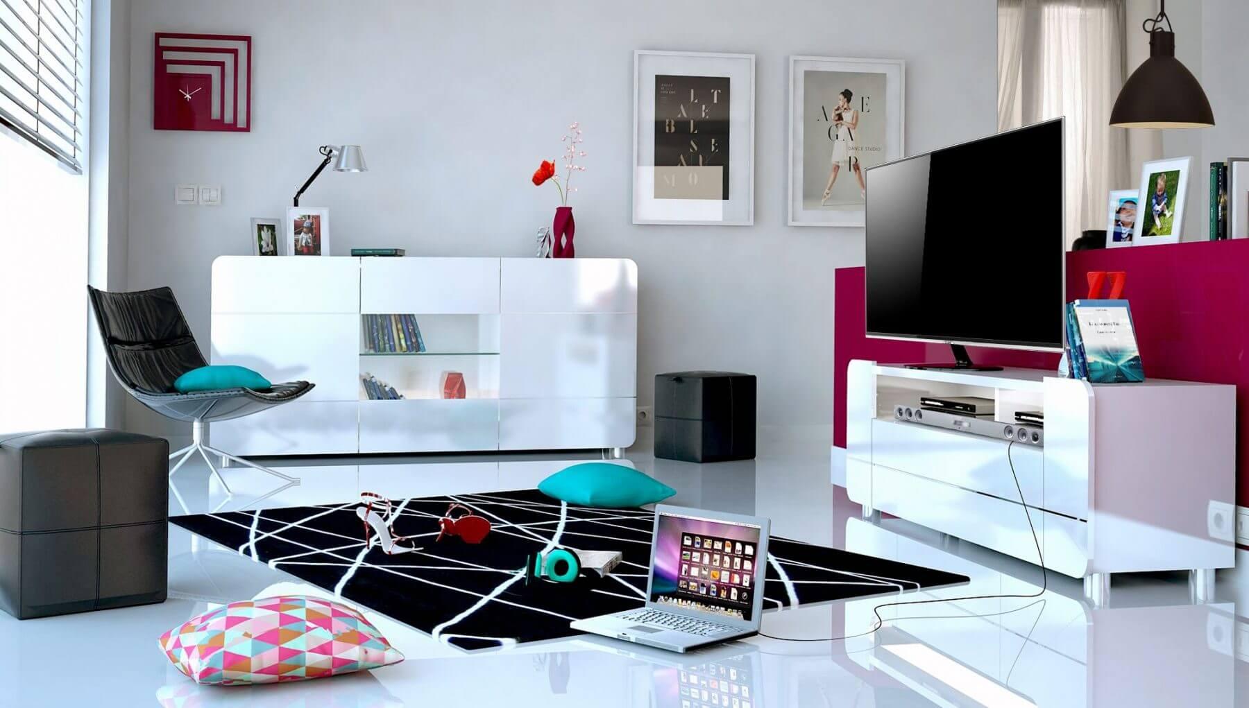 Bump Tv Unit White Gloss Modern Tv Unit Free Delivery Fads # Meuble Tv Ovio