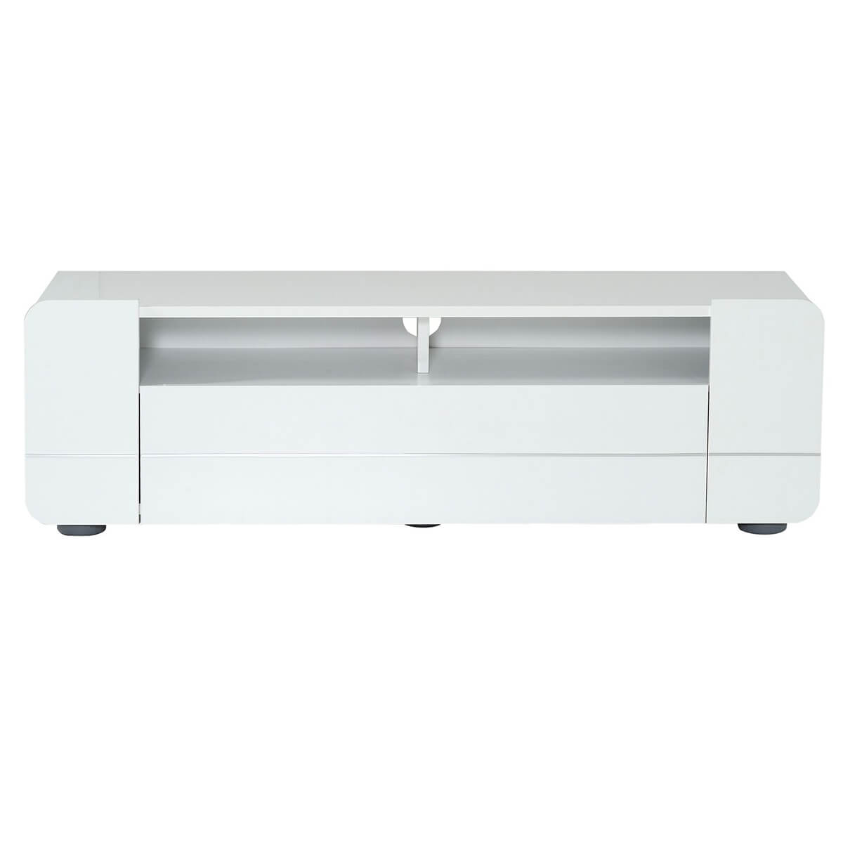 Bump TV Unit with Storage Flap 154cm White High Gloss