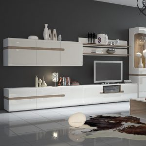 Mode Storage TV Unit White Gloss & Oak 3