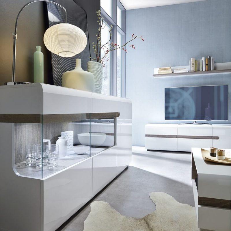 Mode Storage TV Unit White Gloss & Oak 4