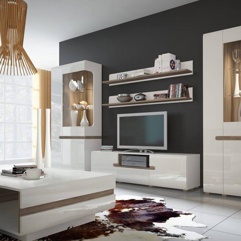 Mode TV Unit White Gloss with Shelf 4