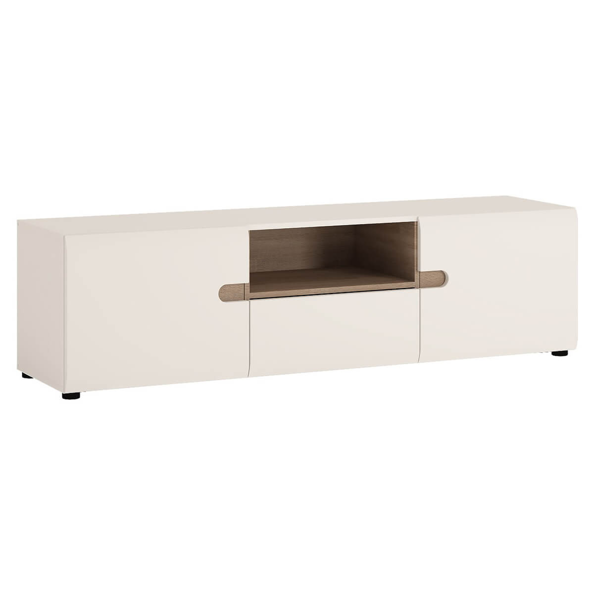 Mode TV Unit With Shelf 164cm White Gloss & Truffle Oak
